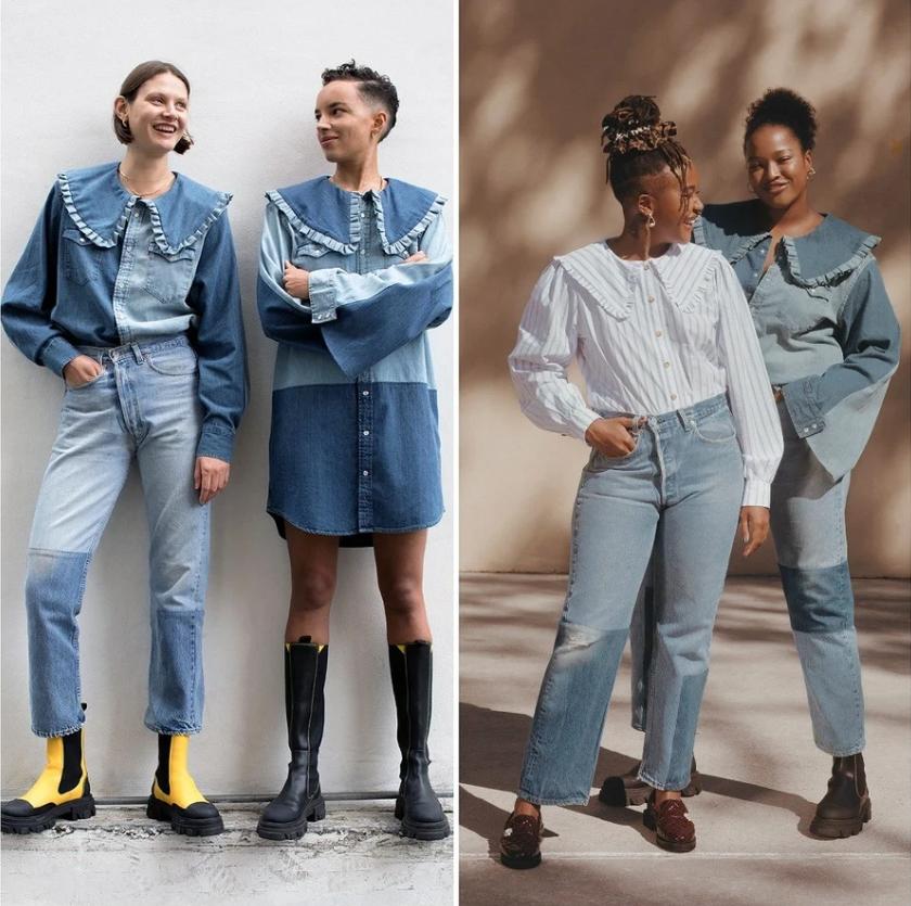 Джинсовая одежда в стиле апсайклинг