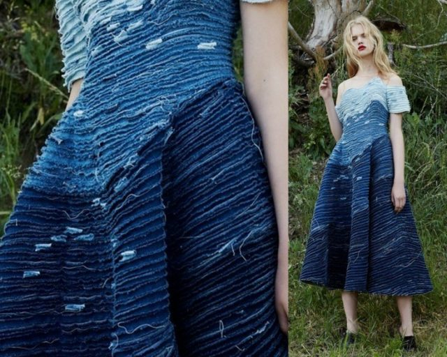Платье в технике синель
