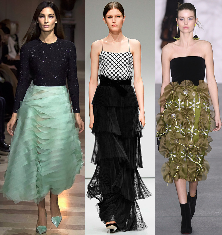 Разные юбки с воланами.