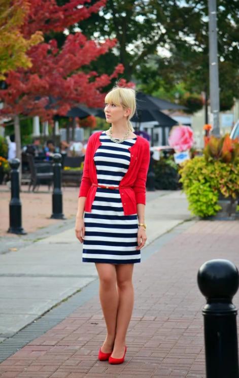 Полосатое платье.
