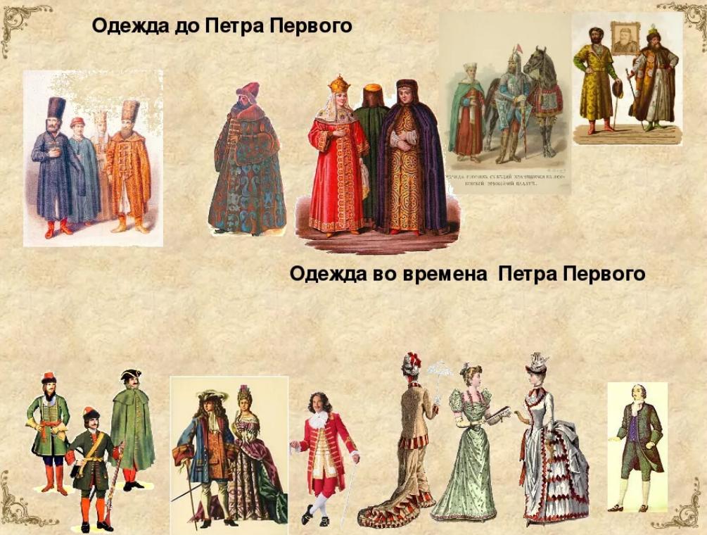 Одежда до Петра Первого и после.