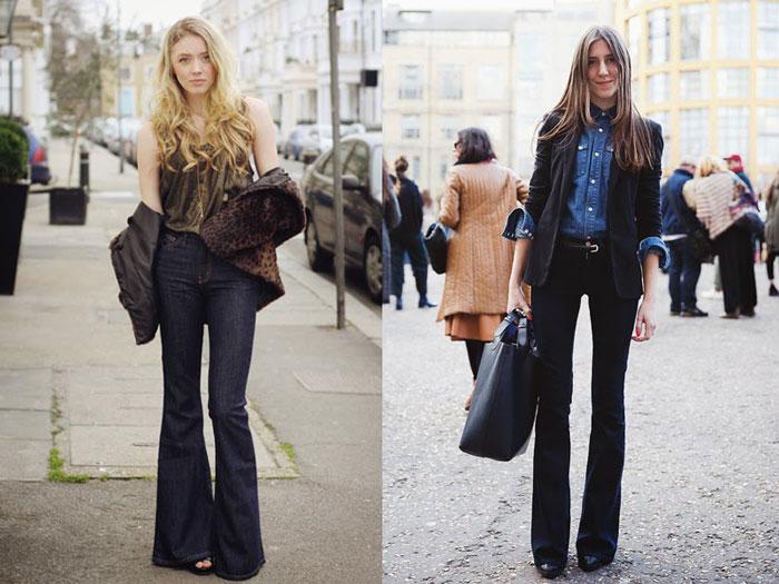 Образы с чёрными джинсами клёш