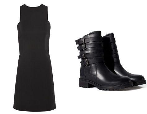 Чёрное платье и грубые ботинки.