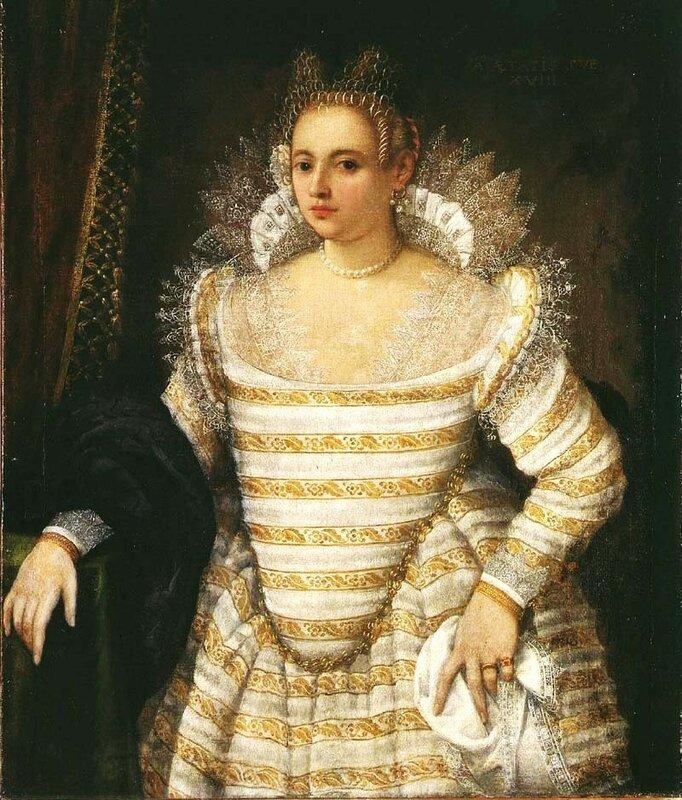 Поолосатое платье дамы конец XVI века.