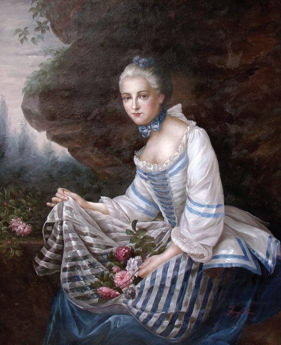 Портрет дамы в платье с полосками.