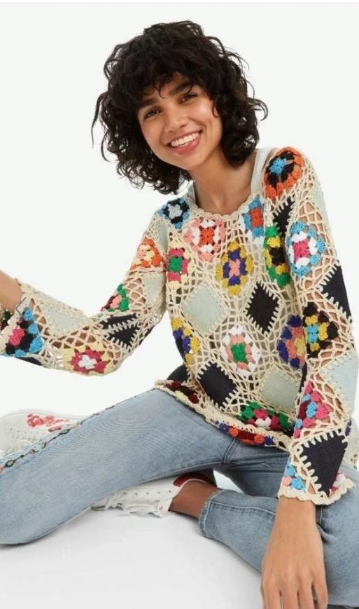 "Пуловер в технике ""бабушкин квадрат"""