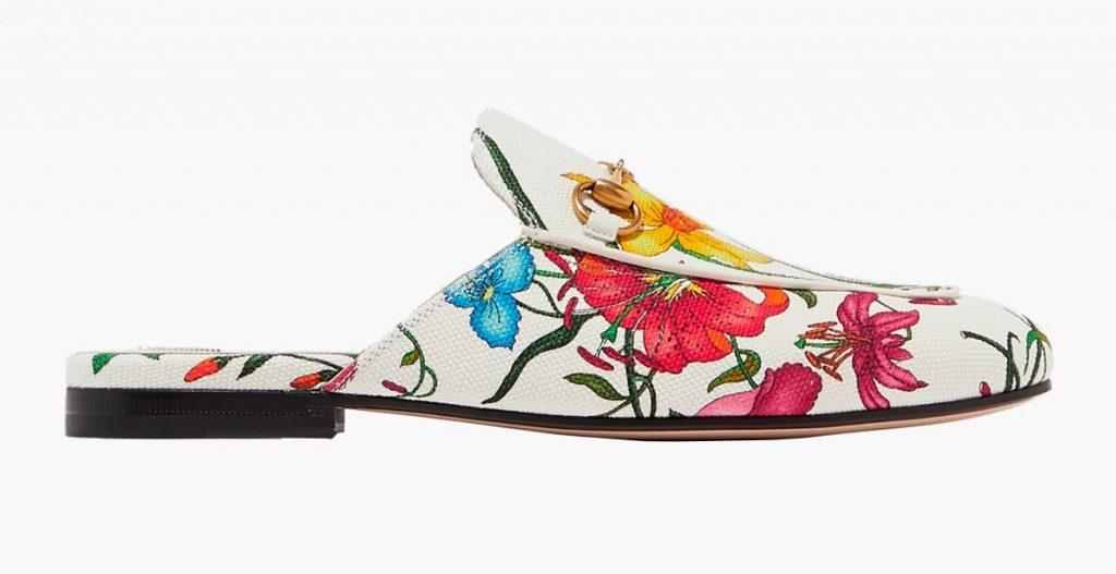 Мюли с цветочным принтом от Gucci