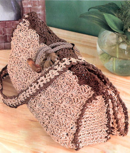Вязаная сумка с декором деревянной пуговицей