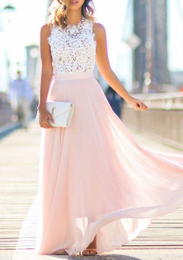 Длинное шифоновое платье.