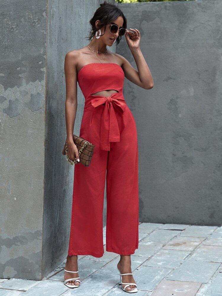 Женственный красный комбинезон SHEIN